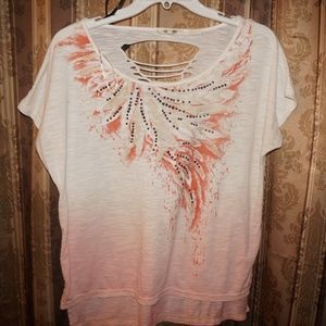 Miss Me Ombre white pink top
